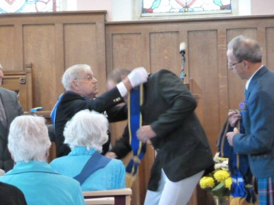 Photo of Cornet receiving the Sash at Wigtown Church
