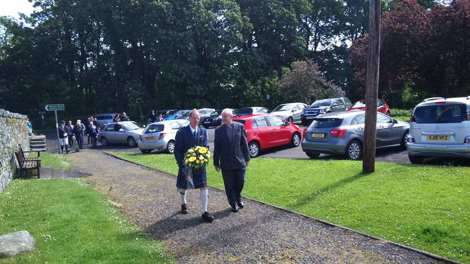 Photo of Andrew and Jim walking up from Wigtown Church