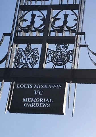 Photo of the archway at the entrance to the Louis McGuffie VC Memorial Gardens