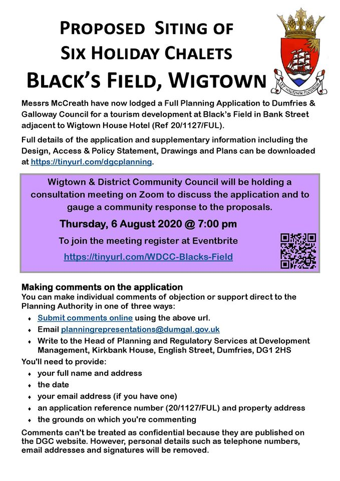 Wigtown Community Council Meeting Thursday 6th Aug 2020